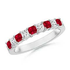 Square Ruby and Princess Diamond Semi Eternity Classic Wedding Band
