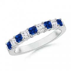 Blue Sapphire and Diamond Semi Eternity Classic Wedding Band