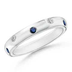 Gypsy Set Sapphire and Diamond High Dome Wedding Band