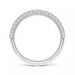 Toggle Triple Row Round Aquamarine and Diamond Wedding Band
