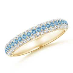 Triple Row Round Aquamarine and Diamond Wedding Band