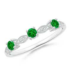 Emerald & Diamond Marquise and Dot Band