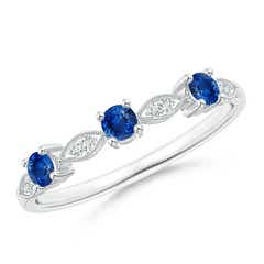 Blue Sapphire & Diamond Marquise and Dot Band