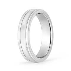 Classic Flat Comfort Fit Wedding Band with Parallel Grooved