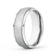 Beveled Edges Low Dome Men's Matte Finish Wedding Band