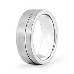 Brushed Finish Single Ridged Wedding Band for Him