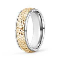 Men's Hammered Comfort Fit Wedding Ring in Two Tone Gold