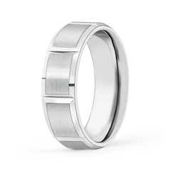 Satin Finish Grooved Comfort Fit Wedding Band
