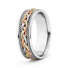 Tri Color Comfort Fit Hand Woven Wedding Band for Him