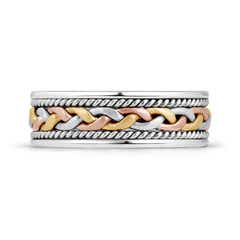 Toggle Tri Color Comfort Fit Hand Woven Wedding Band for Him