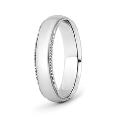 Low Dome Comfort Fit Milgrain Wedding Band for Him