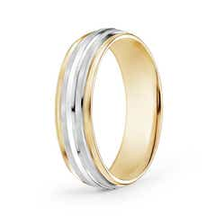 Brushed Finish Carved Wedding Band in White and Yellow Gold