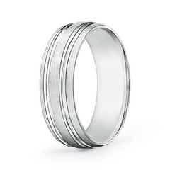 Satin Finish Parallel Grooved Wedding Band
