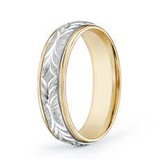 Comfort Fit Embossed Wedding Band in White and Yellow Gold