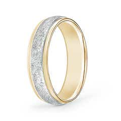 Swirl Finish Comfort Fit Wedding Band in White & Yellow Gold
