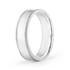Classic Flat Surface Milgrain Wedding Band for Him