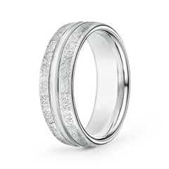 Swirl Finish Center Grooved Comfort Fit Wedding Band