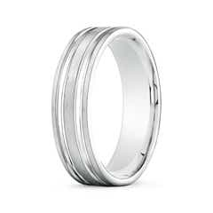 Parallel Grooved Comfort Fit Satin Wedding Band for Him