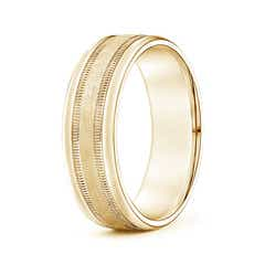 Angara Milgrain Beveled Edge Satin Finish Dome Wedding Band for Him dY1dOeW