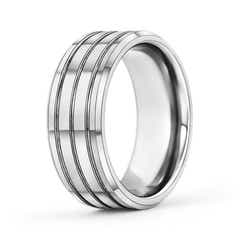 9mm Multiple Grooves Tungsten Carbide Wedding Band