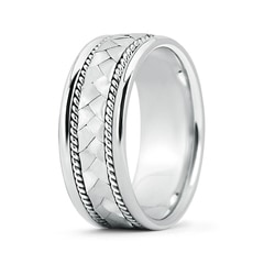 Hand Braided Twisted Rope Men's Wedding Band