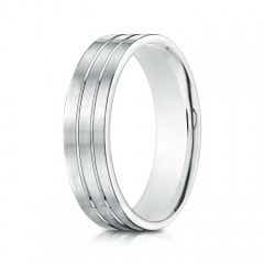 Satin Parallel Grooved Men's Comfort Fit Wedding Band