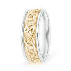 Two Tone Round Edge Comfort-Fit Celtic Knot Wedding Band