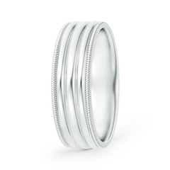 Triple Dome Style Comfort Fit Milgrain Wedding Band for Him