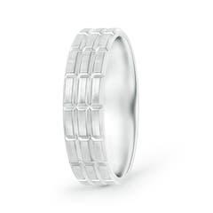 Satin Finish Brickwork Pattern Comfort-Fit Wedding Band for Men