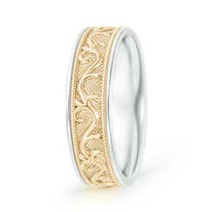 Embossed Vine Pattern Milgrain-Edge Men's Wedding Band in Two Tone