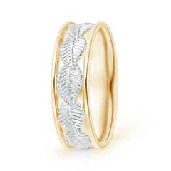 Embossed Leaf Pattern Comfort-Fit Men's Wedding Band in Two Tone