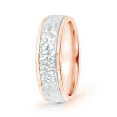 Mirror-Cut Edged Hammered Comfort-Fit Wedding Band in Two Tone