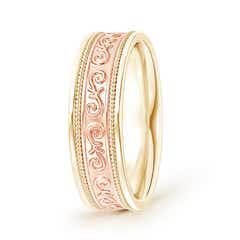 Embossed Scroll Pattern Men's Wedding Band With Rope-Edges