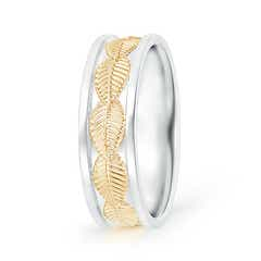 Braided Leaf Pattern Comfort-Fit Men's Wedding Band in Two Tone