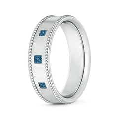 Three Stone Princess Enhanced Blue Diamond Men's Wedding Band