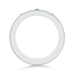 Toggle Three Stone Princess Enhanced Blue Diamond Men's Wedding Band