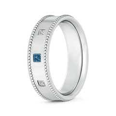 3 Stone Princess White & Enhanced Blue Diamond Men's Wedding Band
