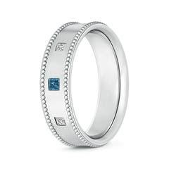 3 Stone Princess White & Enhanced Blue Diamond Men's Wedding Band