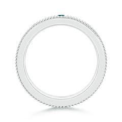 Toggle 3 Stone Princess White & Enhanced Blue Diamond Men's Wedding Band