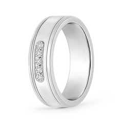Channel Set Round Diamond Five Stone Grooved Wedding Band
