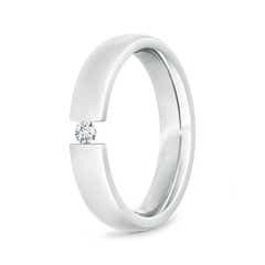 Tension Set Round Diamond Solitaire Wedding Band for Him