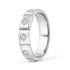 Polished Gypsy Set Diamond Five Stone Wedding Band