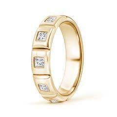 Polished Gypsy Set Princess Diamond Five Stone Wedding Band