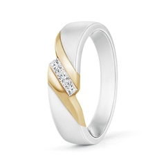 Two Tone Diagonal Channel Diamond 3 Stone Band for Him