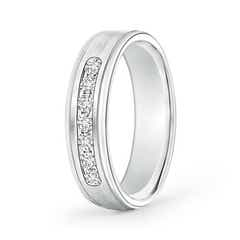 Brushed Finish Channel Set Diamond Half Eternity Wedding Band