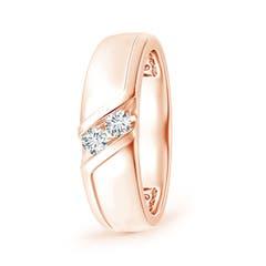 Slanted Channel-Set Diamond Two Stone Wedding Band
