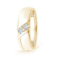 Slanted Channel-Set Diamond Two Stone Wedding Band