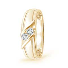 Diagonal Two Stone Diamond Wedding Band with Ridged-Edge