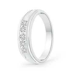 Channel-Set Diamond Five Stone Men's Wedding Band