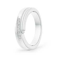 Diagonal Channel-Set Diamond Men's Wedding Band